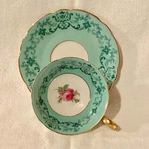 Royal Bavarian Turquoise With Rose Teacup Set